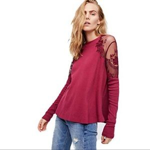 Free People Daniella Lace Inset Top